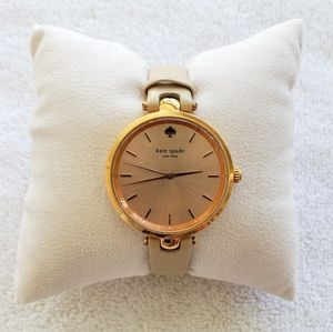 kate spade Holland Rose Dial Beige Leather Watch